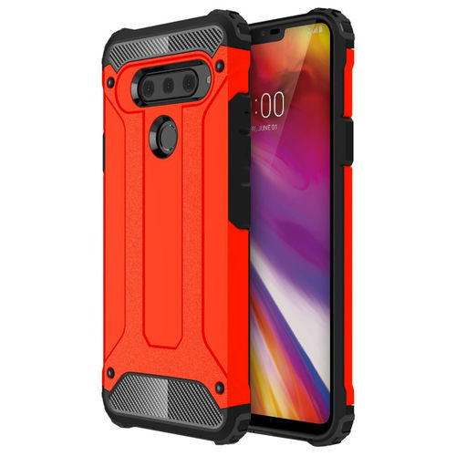 Military Defender Shockproof Case for LG V40 ThinQ - Red